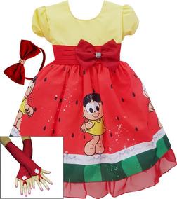 Vestido Temático Infantil Festa Magali Com Tiara E Luvas