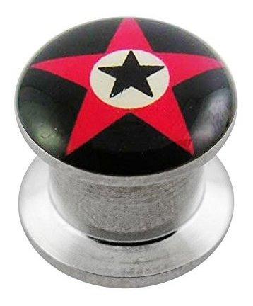 Imagen 1 de 2 de Red Star Logo Acero Quirurgico Internamente Roscada Del Tor