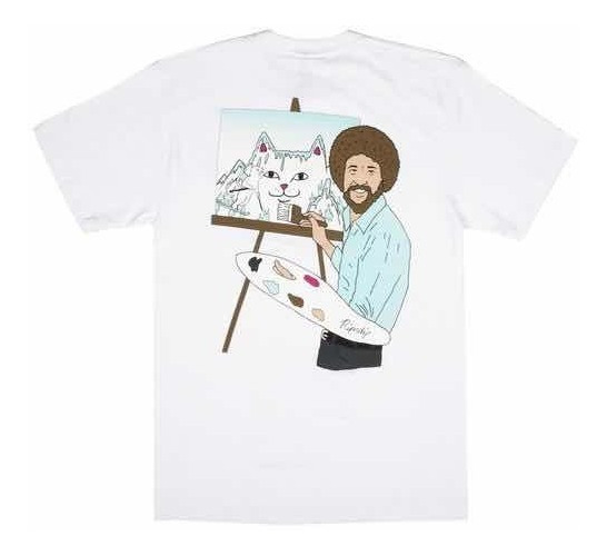 Playera Ripndip X Bobross Beautiful Mountain Blanca Original