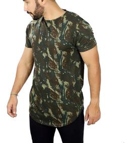 Camisa Longline Oversized Camuflada Redonda Básica