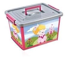 Caixa Carrinho Organizador De Brinquedos Rosa Princesas 30l