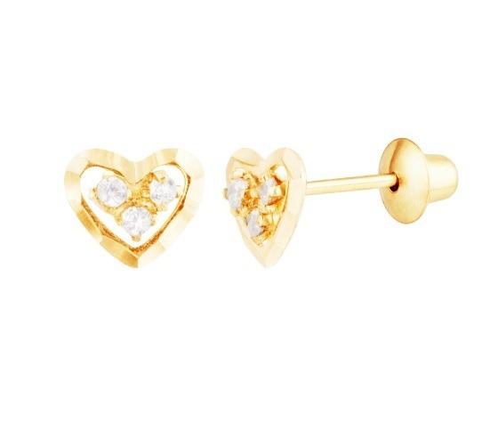Brinco Coração De Ouro 18k Diamantado E Pedras Branca G03