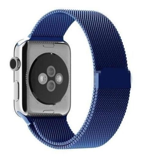 Pulseira Milanese Para Apple Watch Series 1 2 3 4 42mm Azul