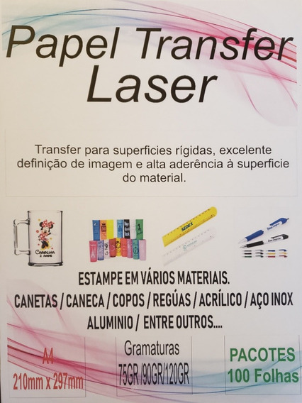 Papel Transfer Laser A4 A4 100 Folhas