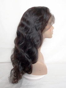 Peruca Full Lace De Cabelo Humano, 60cm, Levemente Ondulada