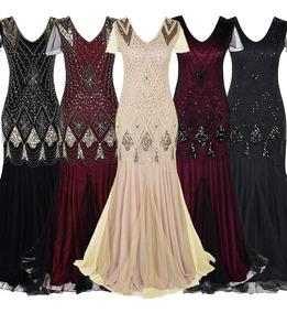 Vintage Women Sequins Maxi Dress Beaded Flapper 1920s Gatsby