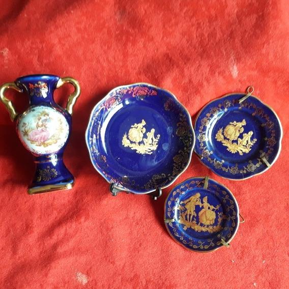 3 Platos Más Florero Potiche Porcelana Limoges France Origin