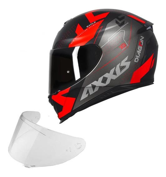 Capacete Moto Axxis Diagon Preto Vermelho + Viseira Fume