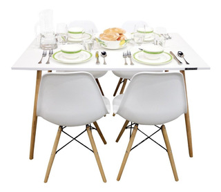 Mesa Comedor Eames Y 4 Sillas Blanca Minimalista Rectangular