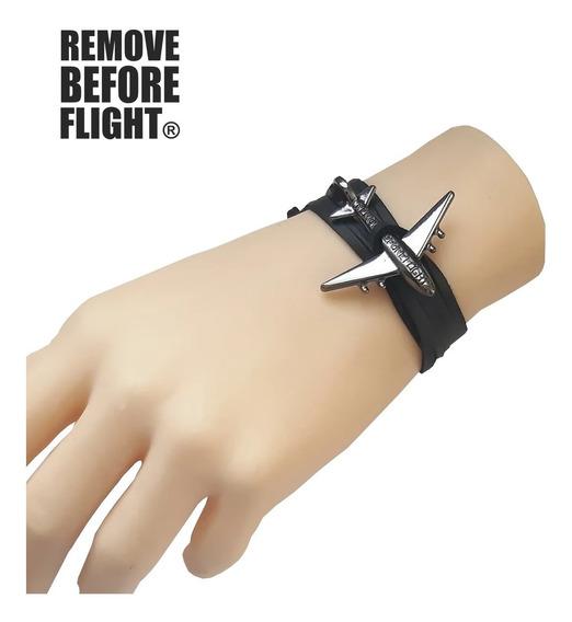 Pulsera Avión Unisex Remove Before Flight ® Negro Platino