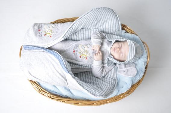 Kit Saída Maternidade Menino Inverno Plush Cinza