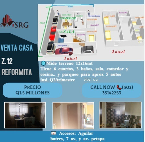 Imagen 1 de 2 de Venta Casa Zona 12 De 2 Niveles