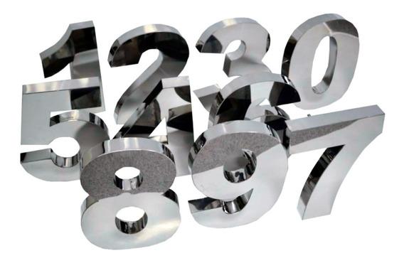 3 Números Residencial 20cm Aço Inox Brilhante Corte A Laser