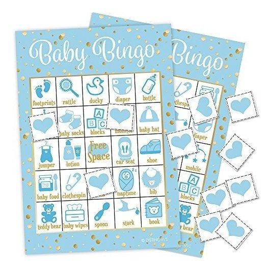 Distintivos Es Un Niño Baby Shower Bingo Game Azul Y Dorado