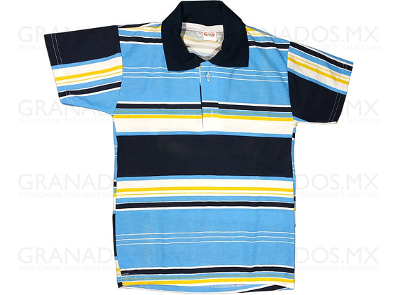 Playera Niño Talla 12 Cuello Polo Botones Azul 50% Algodón
