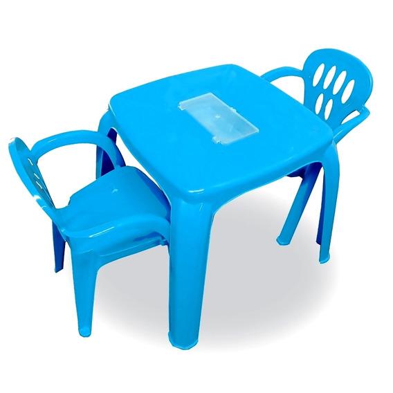 1 Mesa Com Estojo E 2 Cadeiras Infantil Varias Cores