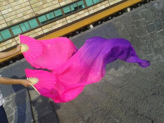Abanicos De Seda 1.8m Danza Árabe Bellydance Fucsia-morado