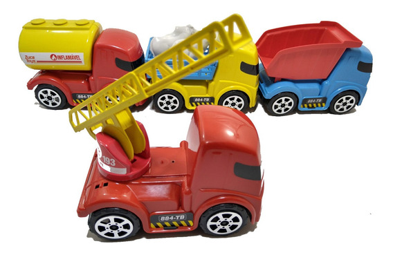 Kit 4 Carrinhos Caminhões Brinquedo Caçamba Bombeiro Gasolin