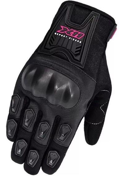 Luva Feminina X11 Blackout Preta Motociclista Proteção Epi