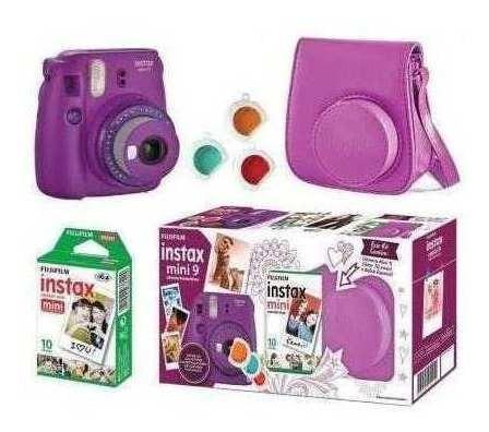 Kit Câmera Fujifilm Instax Mini 9 Roxo Açai Bolsa + 10 Poses