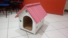 Casa De Madeira Para Cachorro Pequena Rosa E Branca