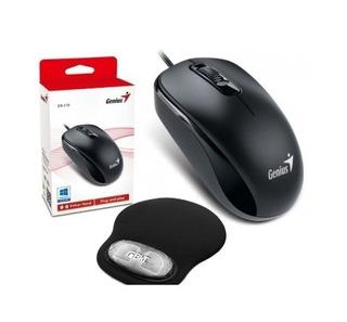 Mouse Genius Dx 120 Usb Optico + Pad Mouse Con Gel Bkt Envio