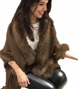 Poncho Pelerine De Lã Com Pelo Sintetico Roupa Feminina Moda