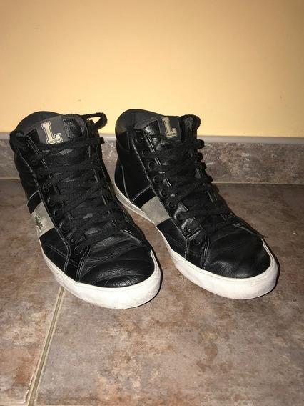Zapatillas Bota Botitas Lacoste De Cuero Color Negro Talle 40