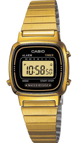Relógio Casio Vintage Feminino Digital Dourado La-670wga-1df