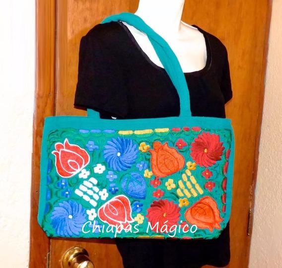Bolsa Bordada De Chiapas / Esmeralda / Flores Multicolor / M