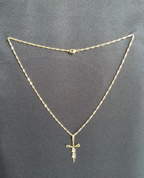 Corrente Folheada A Ouro Com Pingente Cruz Escrita Jesus