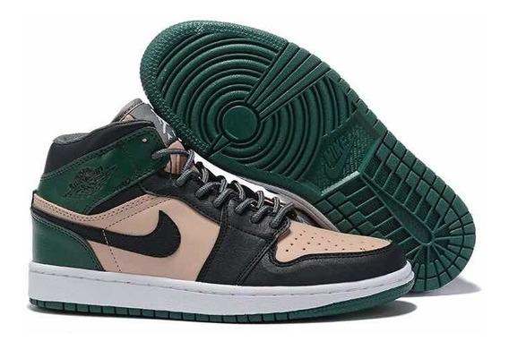 Tenis Air Jordan 1 Green Leather Retrô
