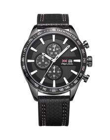 Relógio Masculino Cronógrafo Preto Com Couro Pl80038612m