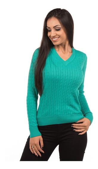 Suéter Blusa Feminino De Tricot Tricô 100%algodão Com Trança