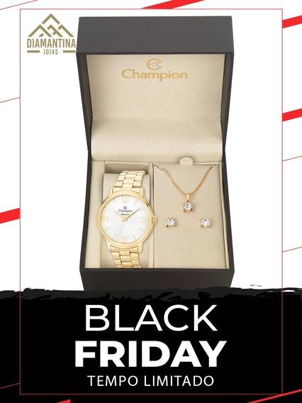 Relógio Feminino Champion Cn26126w Com Brinde Kit Semijoias