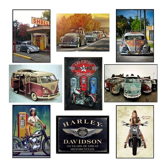 Placas Decorativas Mdf Carros Motos Bandas Vintage 20x30cm