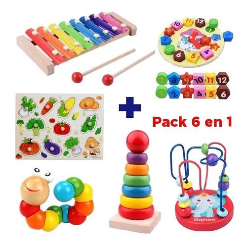 Juguetes Didácticos De Madera  Niños Estimulación Pack 6