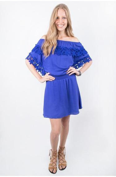 Vestido Eclectic Ciganinha Azul Ocean Renda Guipir