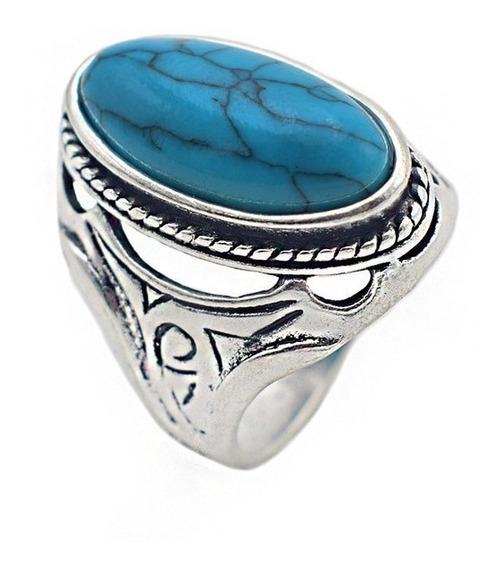 Anillo Piedra Azul Turquesa Regalo Exclusivo Plata A-193