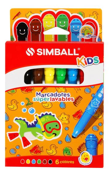 Marcadores Súper Lavables Simball Kids Estuche X6