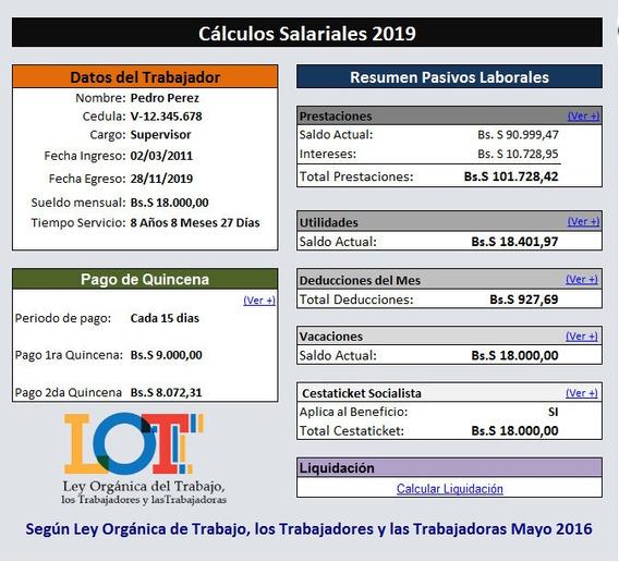 Calculos Salariales 2019 Liquidaciones Lottt Plantilla Excel