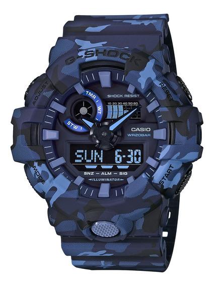 Relógio Casio G-shock Camuflado Azul Ga-700cm-2adr