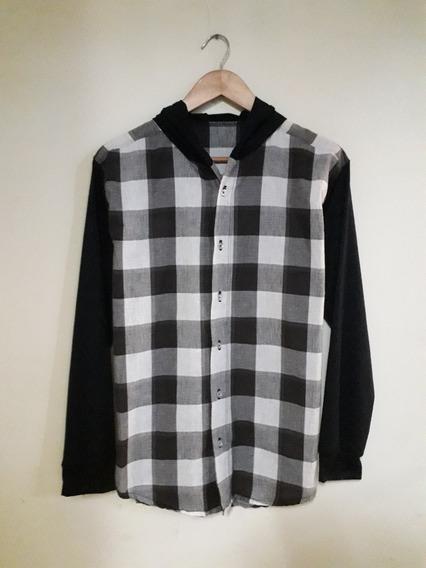 Suéter Camisa Cuadros Leñador Con Capucha Para Caballeros