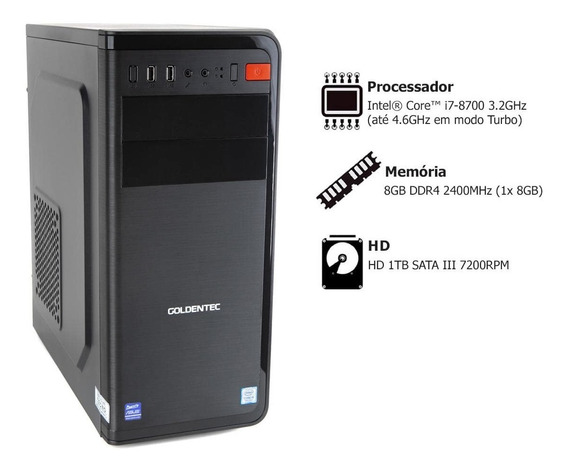Computador Goldentec Com Intel Core I7-8700 3.2ghz 8gb 1tb