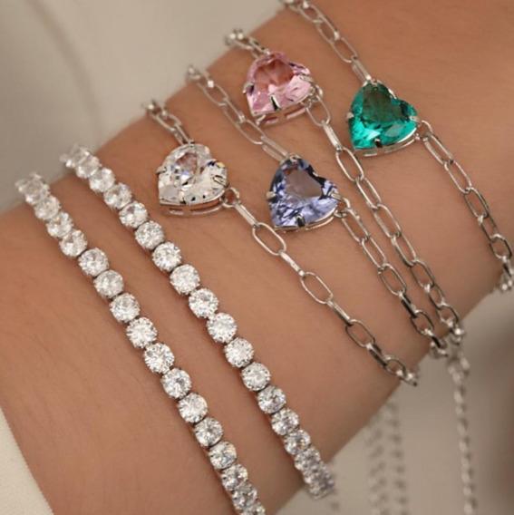 Pulseira Bracelete Feminina Corrente Elos Chain Coração
