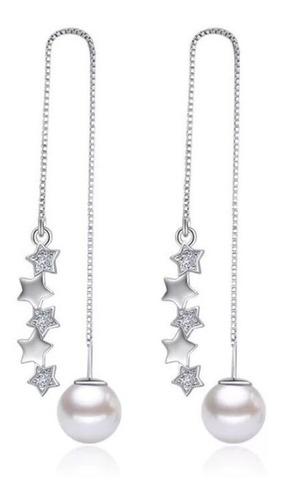 Aretes Pendiente Plata 925 Perla Mujer Elegante