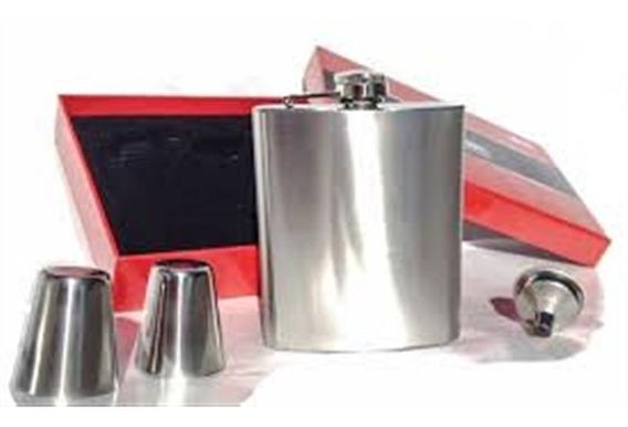 Kit Cantil Em Inox Garrafa De Bolso Com 2 Copos E Funil Port