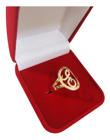 Anel De Letra Oval 2 Grs Em Ouro 18kl/750 (todas As Letras)