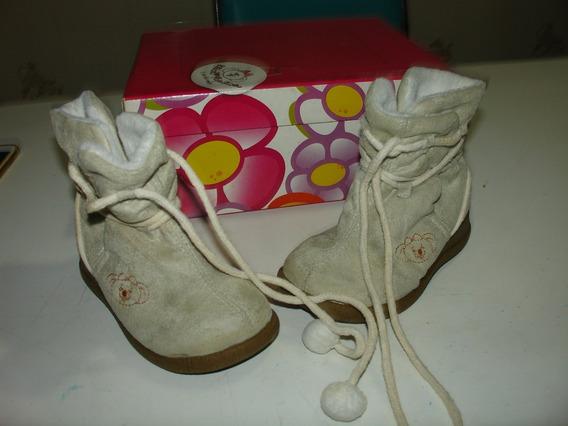 Menina Sapato Botinha Bege Lilica Ripilica Camurça Pele Por