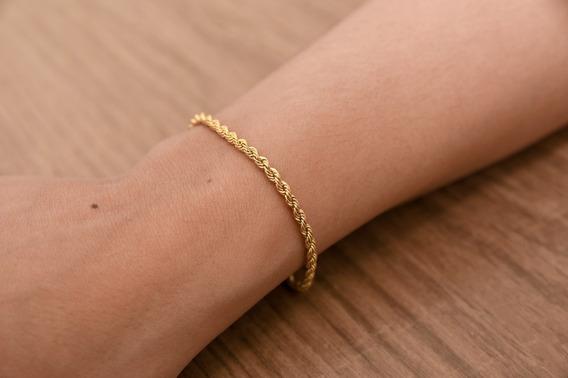 Pulseira Feminina Adulto Cordão Baiano Ouro 18k 18cm